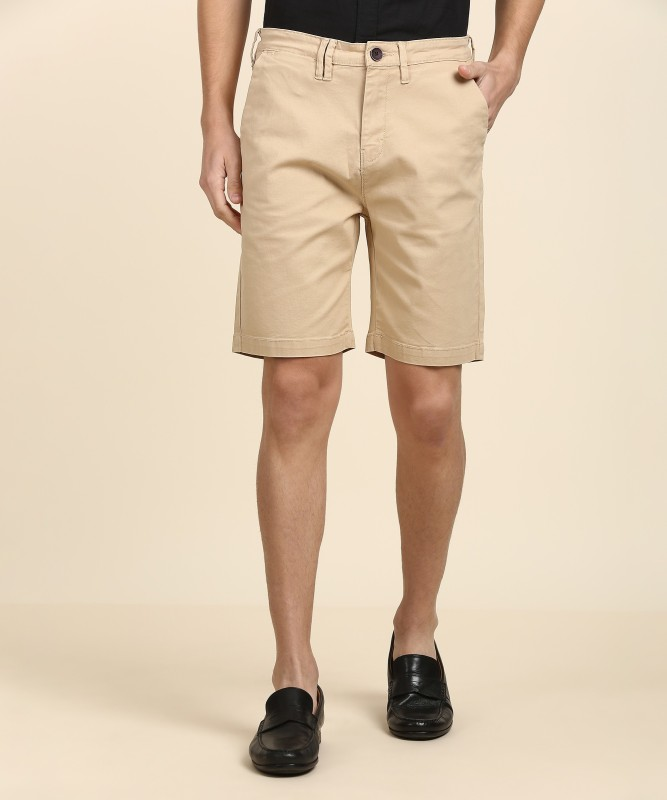 Wrangler Solid Mens Beige Chino Shorts