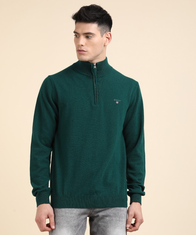 Gant Solid Turtle Neck Casual Mens Green Sweater