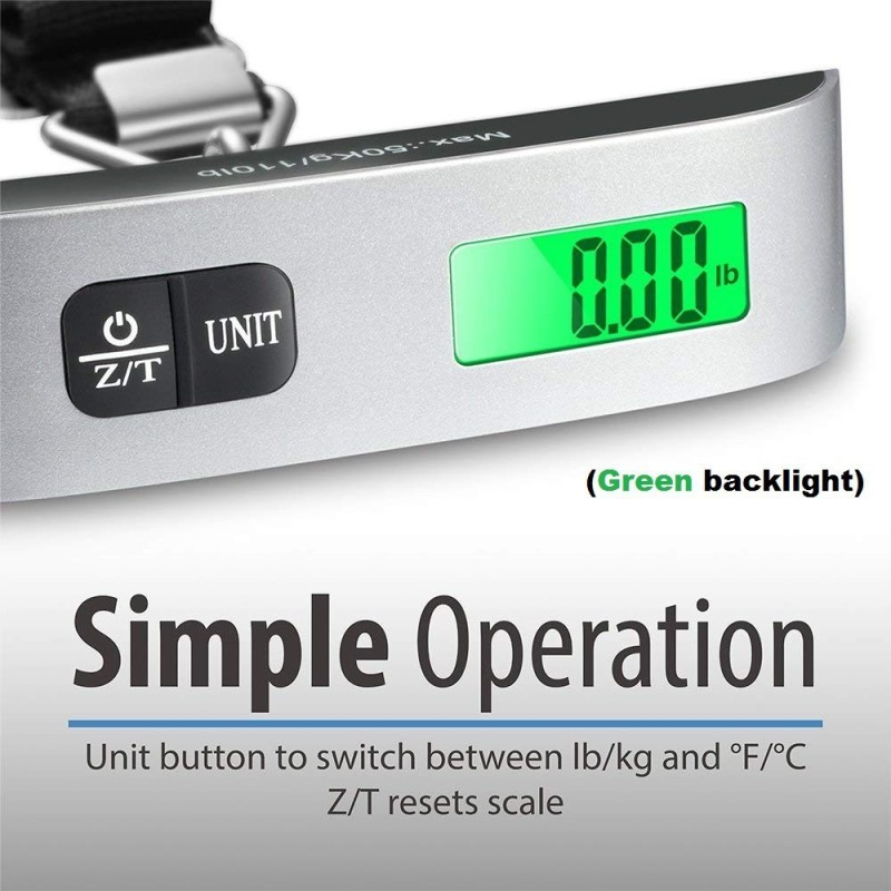 CASON 10g/50 Kg Luggage Scale Digital Portable Electronic Travel Bag Weight Checker with Temp Hanging Weight Scale with Belt Weighing Scale(Grey-belt)