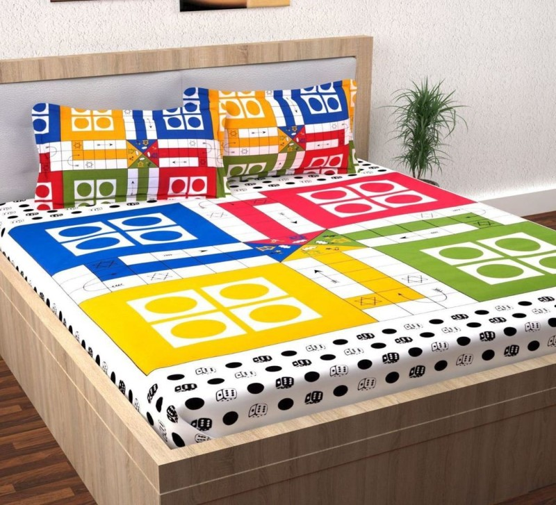 The Intellect Bazaar 152 TC Cotton Double Geometric Bedsheet(Pack of 1, White)