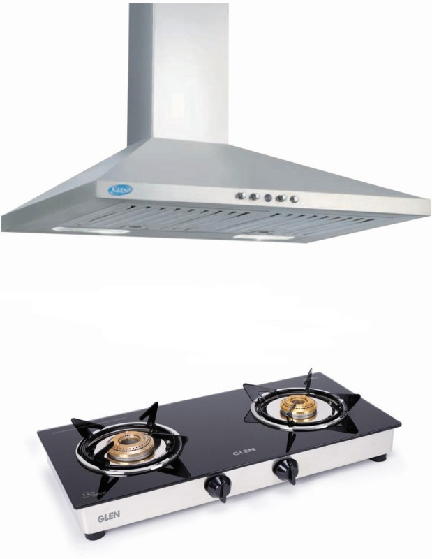 GLEN 750 M3/H 60cm Chimney Detachable Cassette Filter Push Button Panel with 2 Brass Burner Cooktop Combo ( SS 60 750M3/H) Wall Mounted Chimney(Silver, Black 750 CMH)
