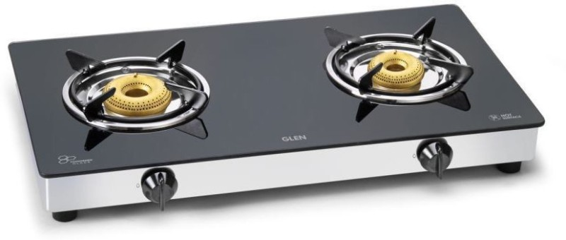 GLEN Glen 2 Burner Glass Gas Stove 1020 GT Brass Burners Glass Manual Gas Stove(2 Burners)