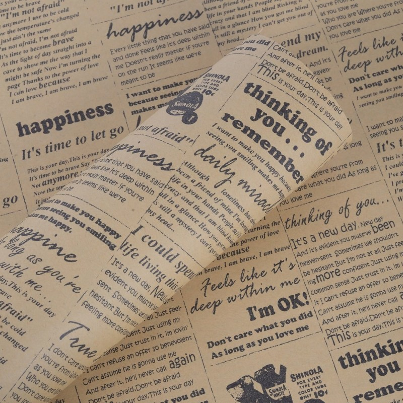 Paper Pep Newspaper Designed Wrapping Paper, Size:LB(inch)- 30x21 Print Paper Gift Wrapper(Brown)