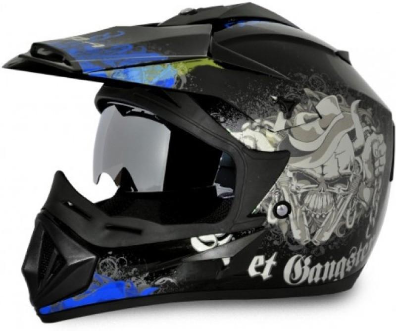VEGA Off Road D/V Gangster Motorbike Helmet(Dull Black Blue)