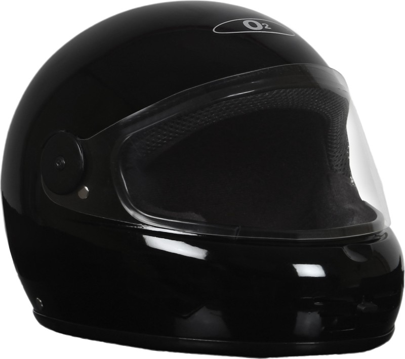 O2 MAX FULL FACE ISI PLAIN BLACK Motorbike Helmet(Black)