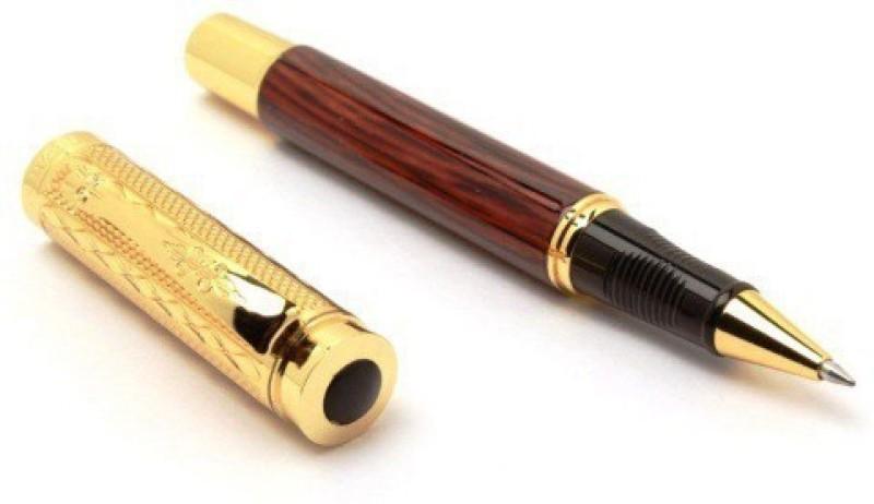 SMKT Dikawen Roller Pen 8026 Golden Clip Scale gold pieces pattern Medium tip,WOOD FINISH MEHROON with Ink Refill , Luxury Design Pen Gift Set SMKT Refill(Pack of 3)