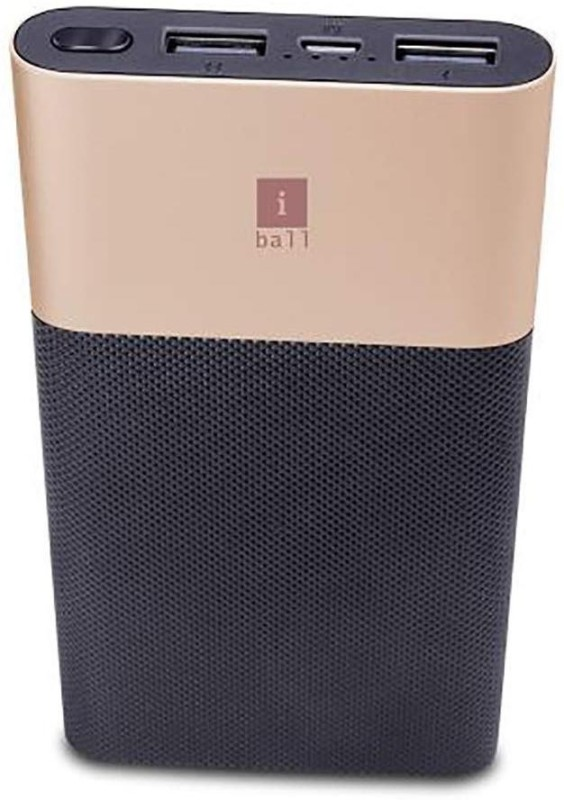 iBall 10000 Power Bank (PLM-10012, Black/Gold 10000 Mah With Dual Usb Ports)(Black + Gold, Lithium Polymer)