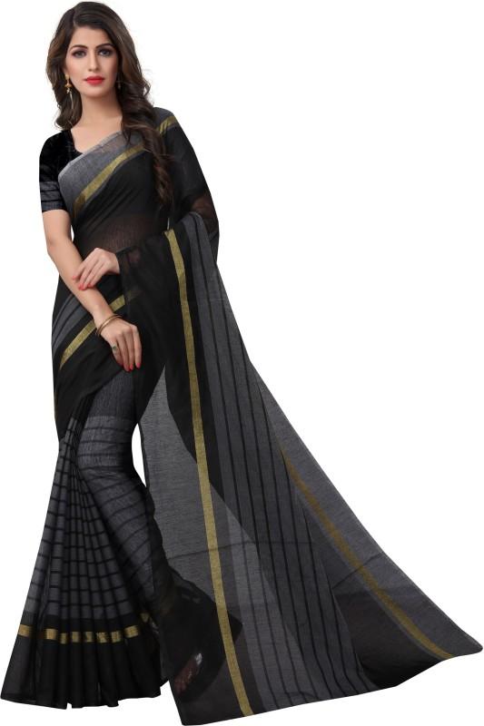 SNH Export Striped Fashion Kota Cotton Saree(Black)