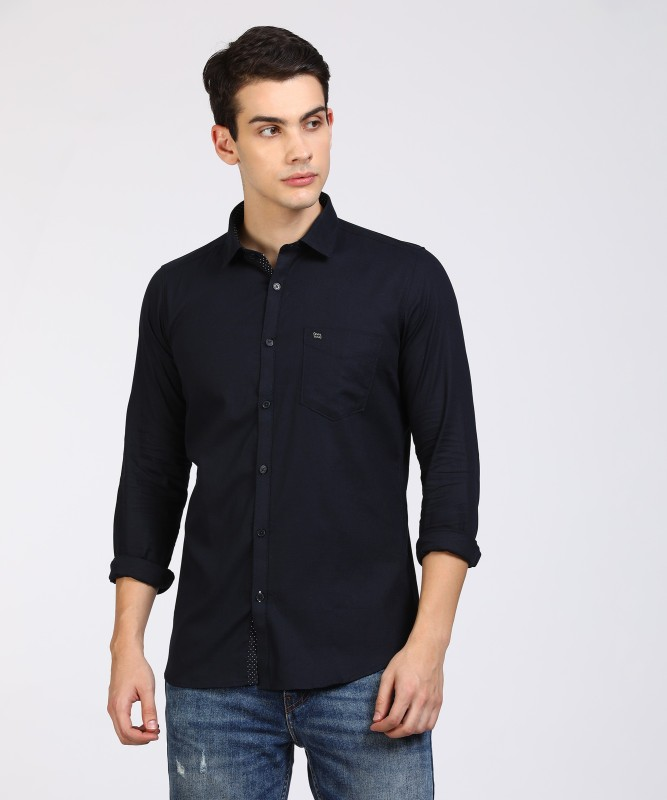 LAWMAN PG3 Men's Solid Casual Dark Blue Shirt