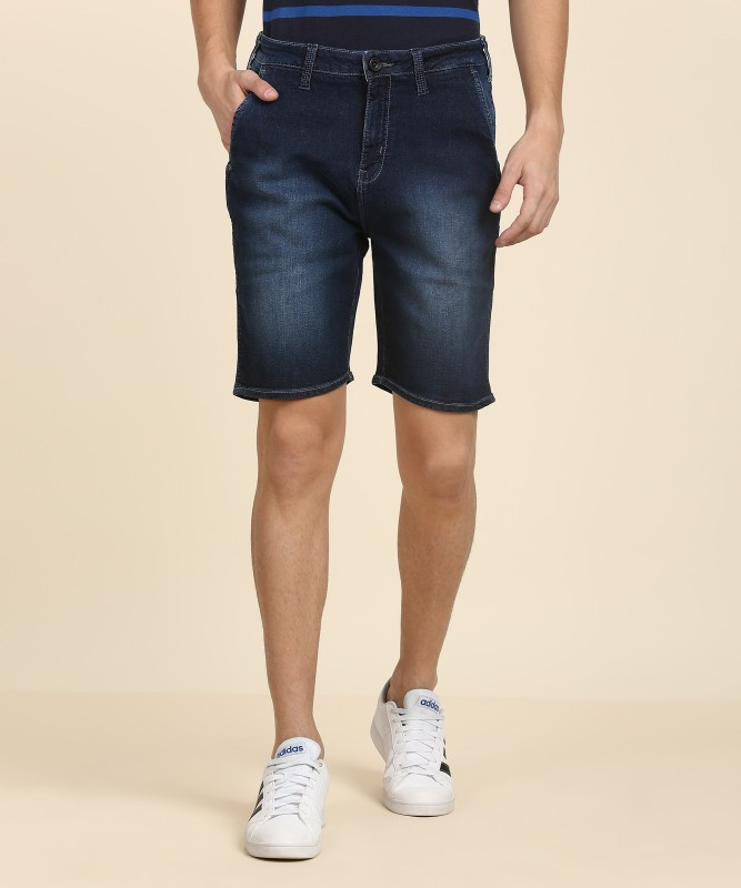 Wrangler Solid Mens Blue Denim Shorts