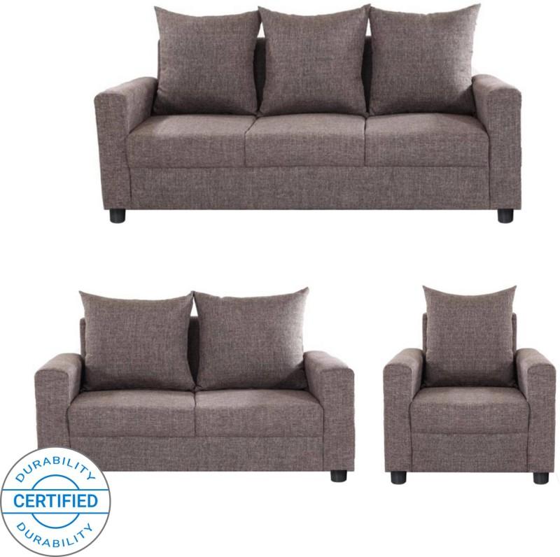 GIOTEAK Fabric 3 + 2 + 1 Brown Sofa Set