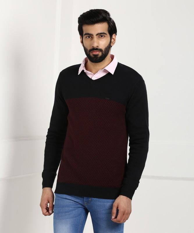 Numero Uno Chevron V-neck Casual Mens Black, Maroon Sweater
