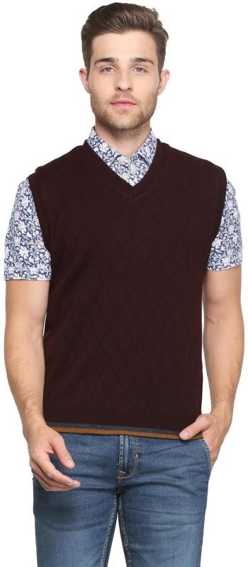 Peter England Self Design V-neck Casual Men Maroon Sweater