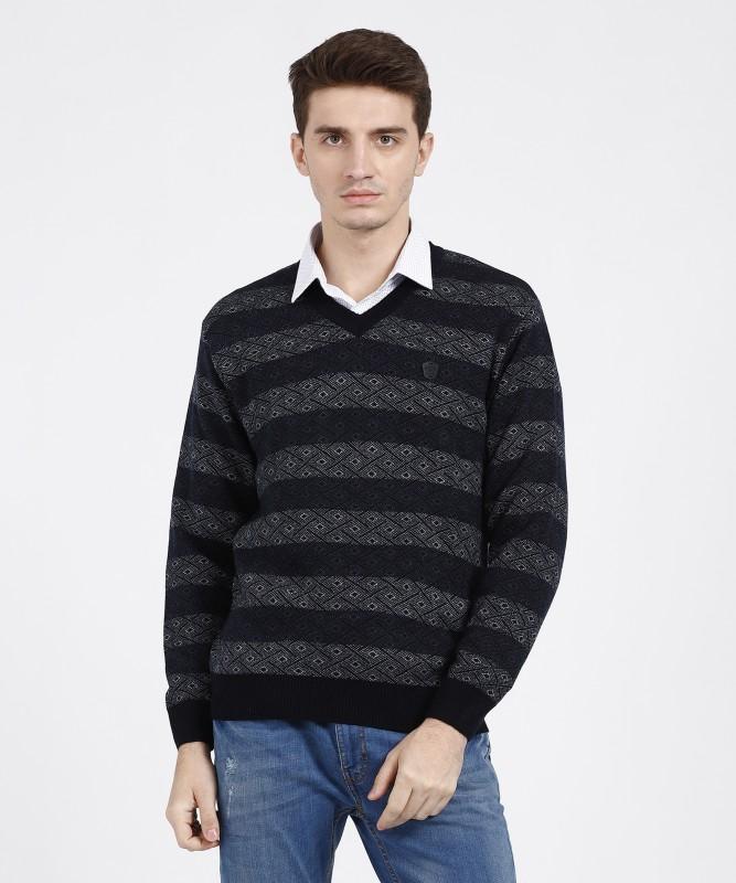 Duke Striped V-neck Casual Men Blue Sweater
