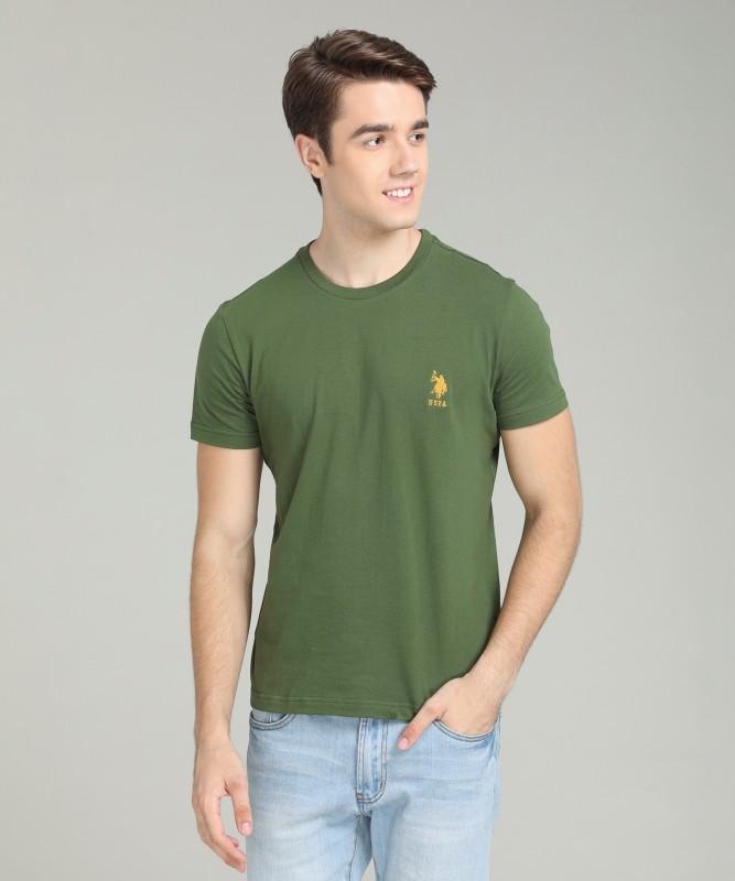 U.S. Polo Assn Solid Men Round Neck Green T-Shirt