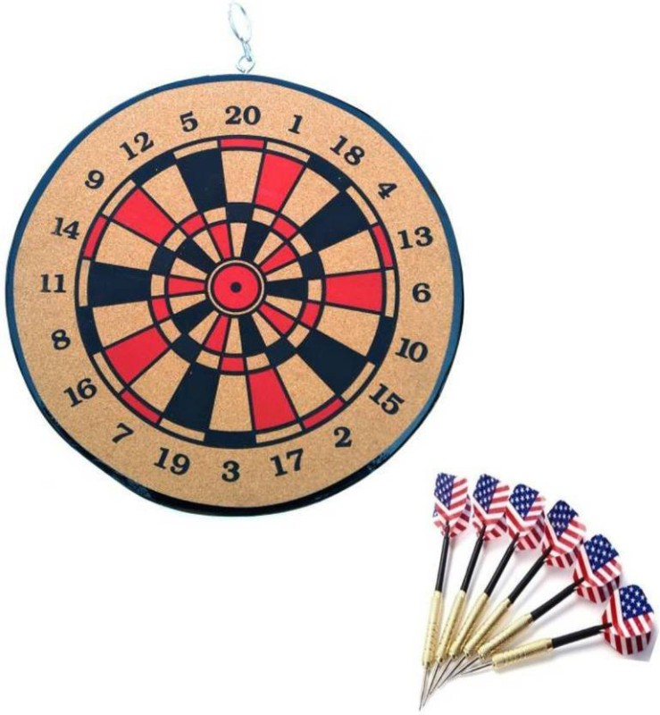 Lord Both Side playing Board Including 6 Darts 12 inch Dart Board(Brown)