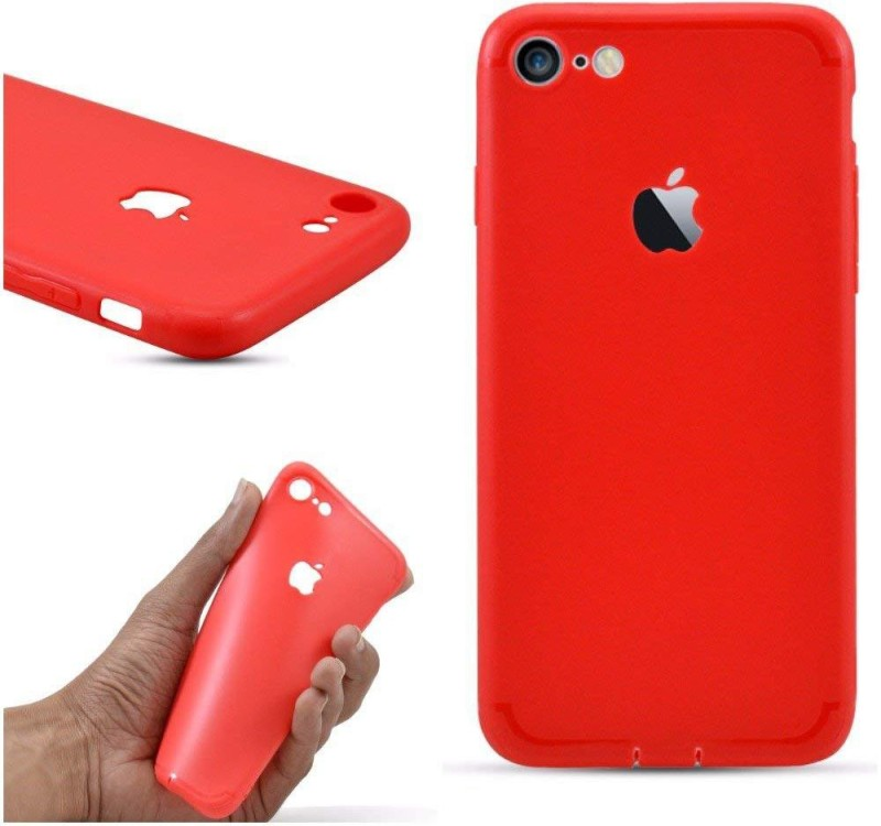 AM7 Back Cover for Iphone 8 Soft Silicon Logo Cut Back Cover Case FOR- IPHONE 8 (Red)(Red, Dot View, Flexible Case)