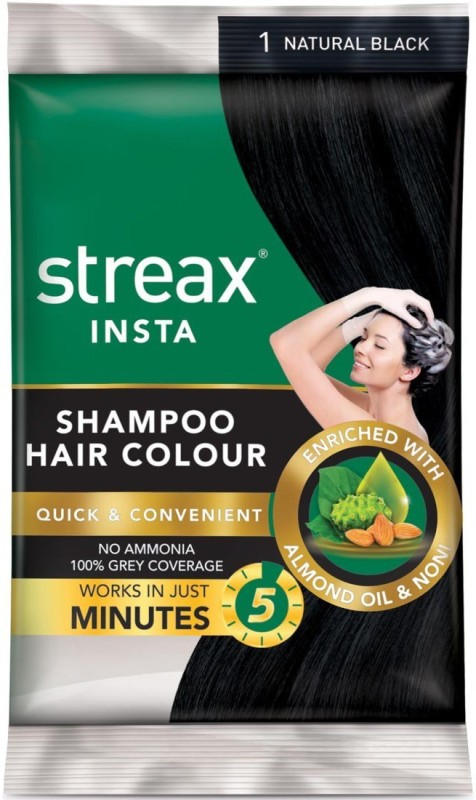 streax Insta Shampoo Hair Color Natural Black 1 (25ml x 8=200ml) Hair Color(Natural Black 1)