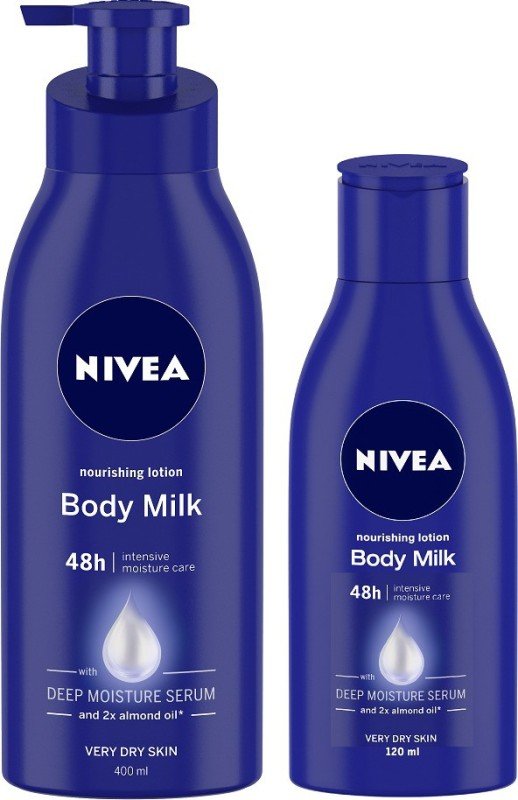 Nivea Body Milk Nourishing Body Lotion 400ml & 120 ml - Pack of 2(520 ml)