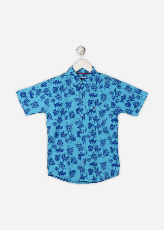 612 League Boys Printed Beach Wear Blue Shirt