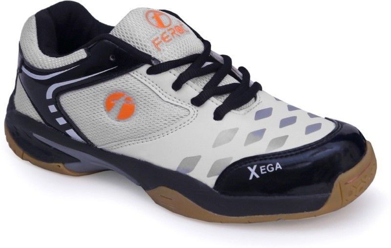 Feroc xega White BLACK Badminton Shoes For Men(White)