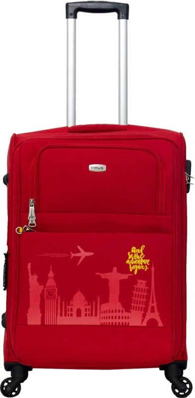 TIMUS Salsa Red 65 CM 4 Wheel Strolley Suitcase For Travel ( Check-in Luggage) Expandable Check-in Luggage - 24 inch(Red)