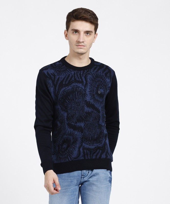 Duke Printed Round Neck Casual Men Blue Sweater