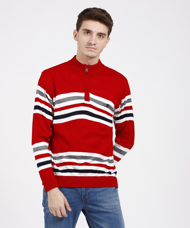 Duke Striped High Neck Casual Men Multicolor Sweater