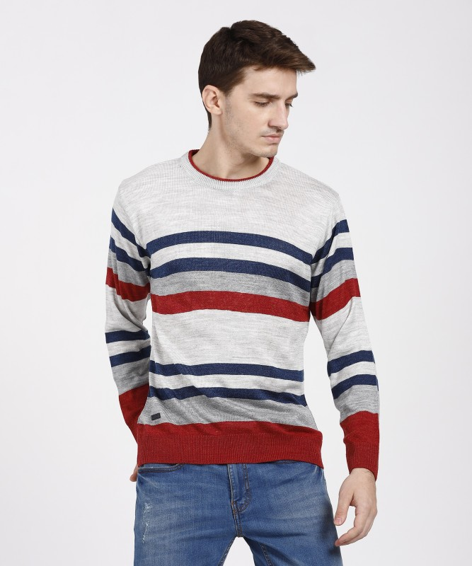 Duke Striped Round Neck Casual Men Multicolor Sweater