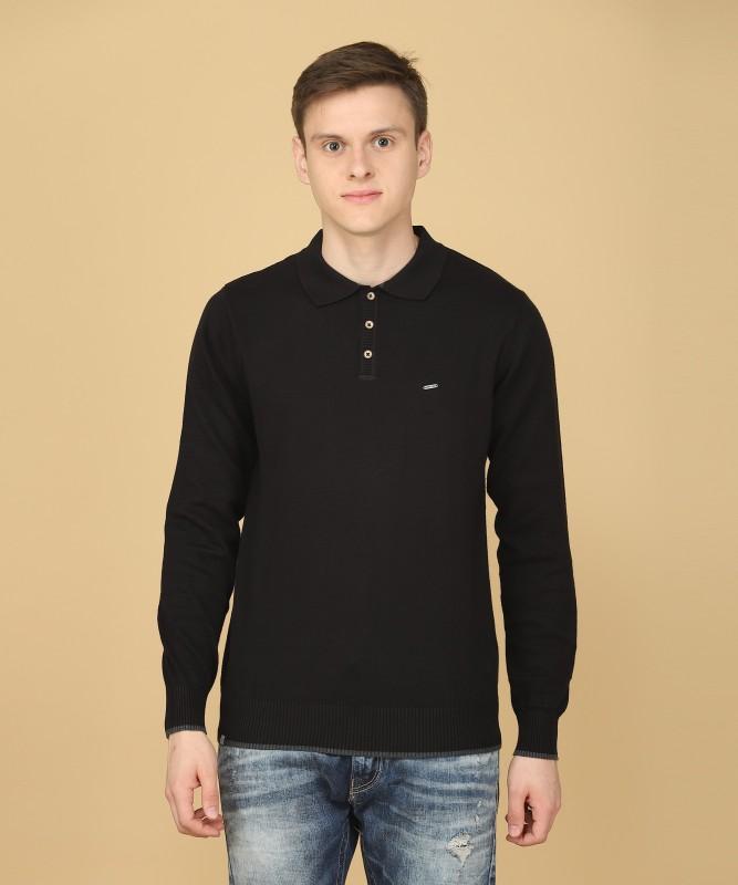 Numero Uno Solid NA Casual Mens Black Sweater