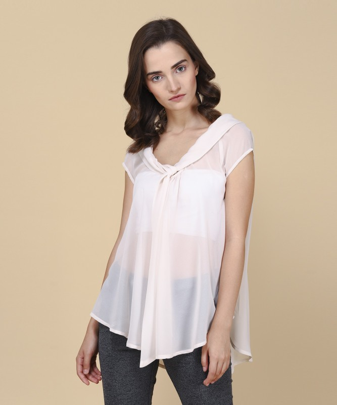 Arrow Casual Cap Sleeve Solid Womens Beige Top