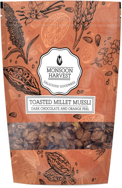 Monsoon Harvest Toasted Millet Muesli, Dark Chocolate and Orange Peel, 250g(250 g, Pouch)