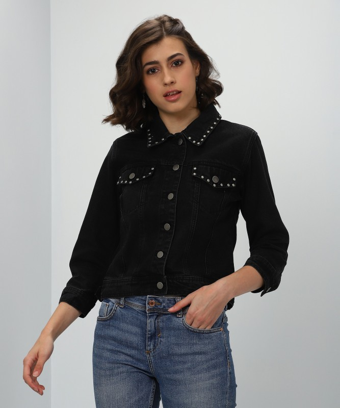 Forever 21 3/4th Sleeve Solid Women's Denim Jacket