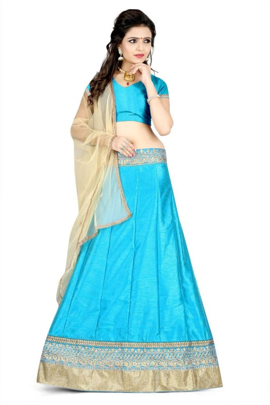 KUSUM FASHION Embroidered Lehenga, Choli and Dupatta Set(Light Blue)