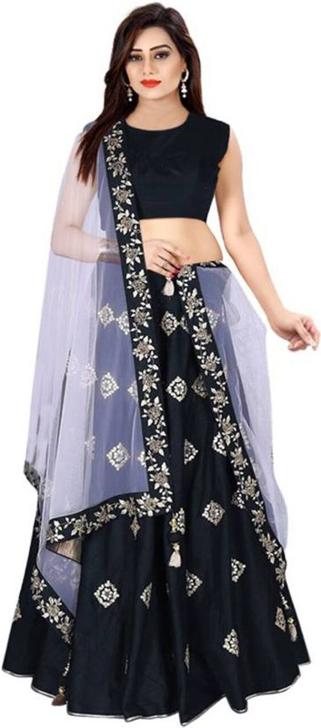 MINIFLY Embroidered Semi Stitched Lehenga, Choli and Dupatta Set(Black)