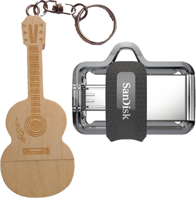 SanDisk Otg 3.0 Dual Drive 16 GB Combo Offer Wooden Guitar Without Box 16 GB Pen Drive(Gold, Grey)