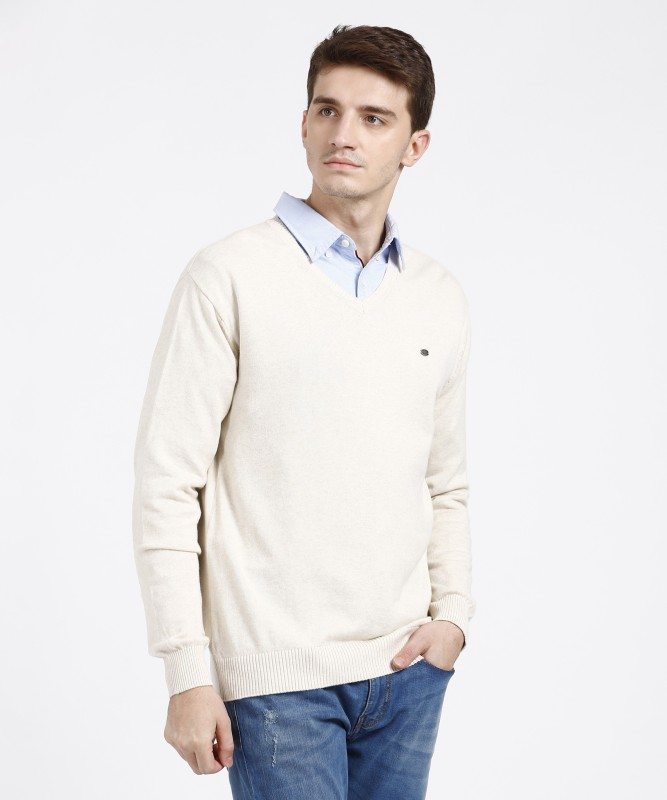 Duke Solid V-neck Casual Men White Sweater