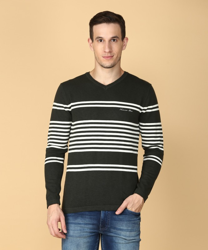 Numero Uno Striped V-neck Casual Mens Green Sweater