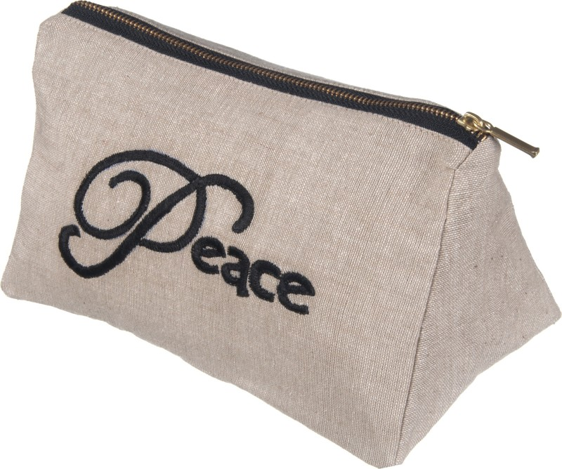 Kanyoga Cotton Chambray 'Peace' Embroidered Everyday Use Pouch (20 x 12 x 11 CM) Yoga Blocks(Multicolor Pack of 1)