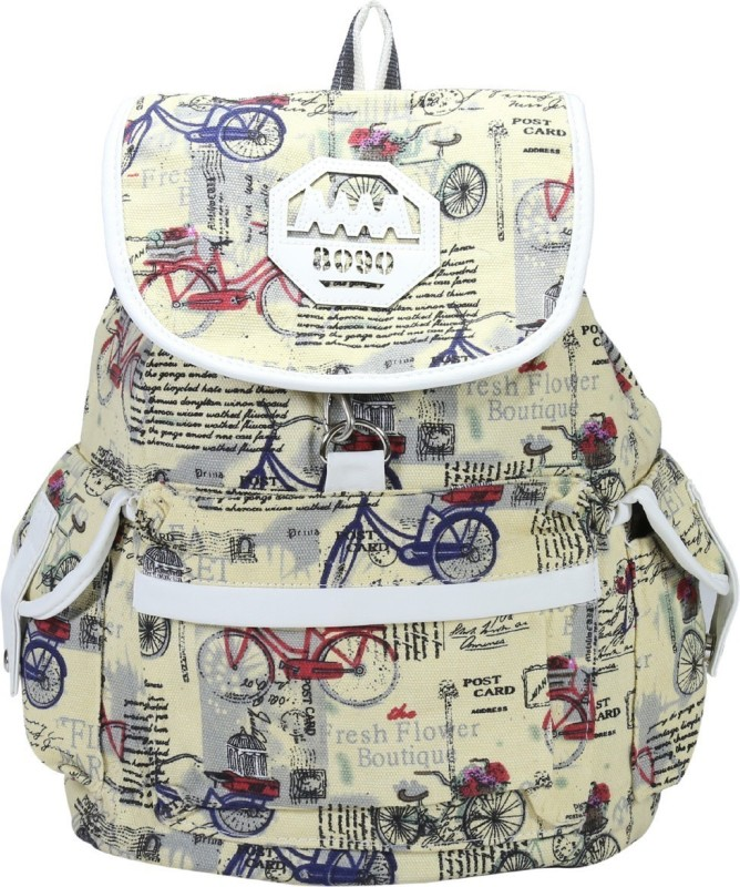 Desence Women & Girls Stylish Backpack for College/School/Travel - Printed Canvas -with Adjustable Strap 10 liters (Yellow) 10 L Backpack(Multicolor)