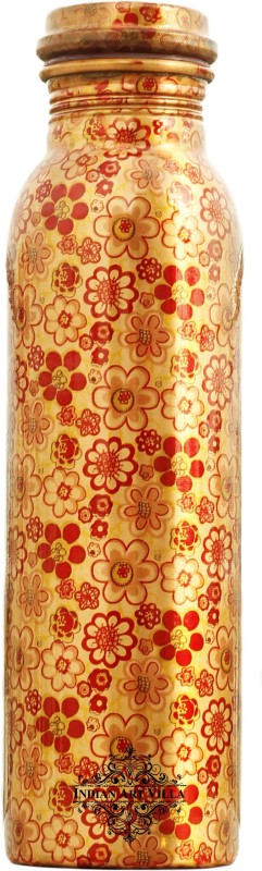 IndianArtVilla Copper Water Bottle,Printed Flower Design 1000 ml Bottle(Pack of 1, Gold)