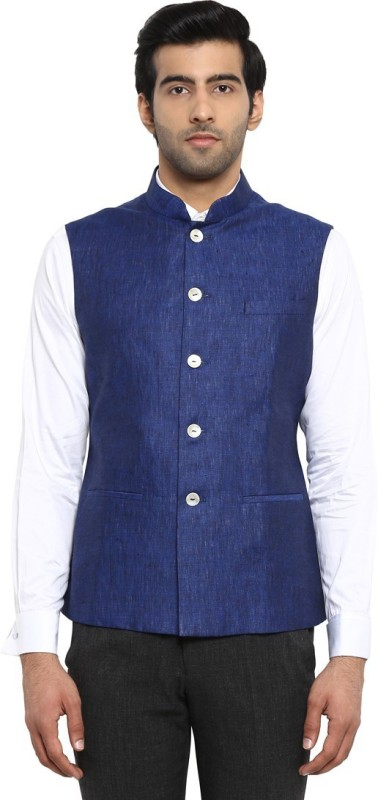 ethnix Sleeveless Self Design Men Linen Jacket