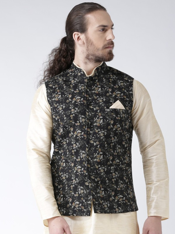 Deyann Sleeveless Floral Print Men Linen Jacket