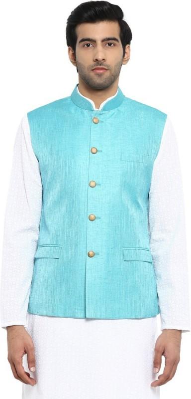 ethnix Sleeveless Self Design Men Jacket