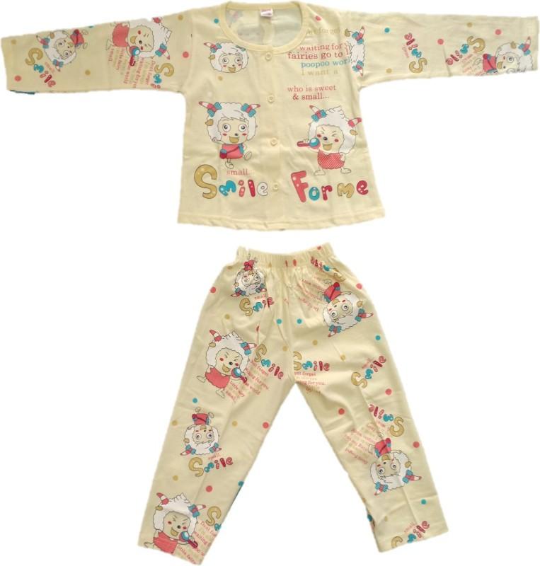 Angel Kids Nightwear Girls Printed Cotton(Beige Pack of 1)