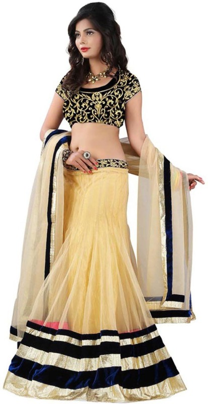 MINIFLY Solid Semi Stitched Lehenga, Choli and Dupatta Set(Beige)