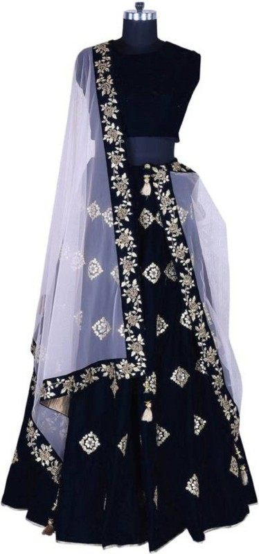 KUSUM FASHION Applique Semi Stitched Lehenga, Choli and Dupatta Set(Black)