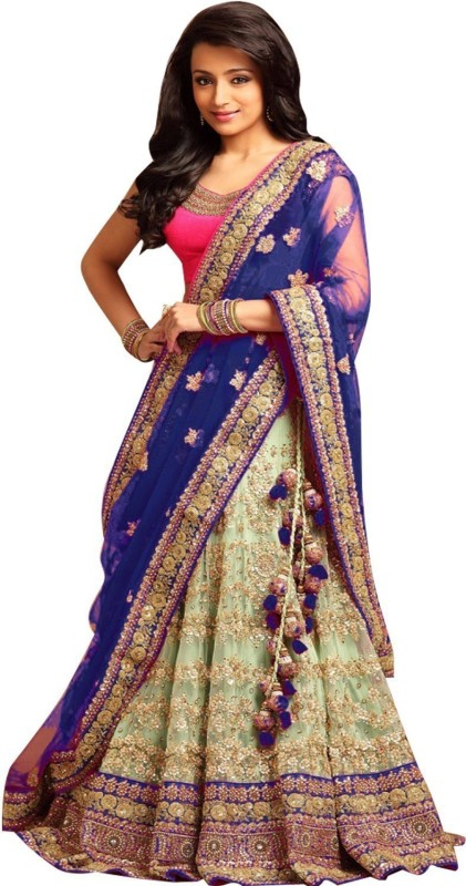 KUSUM FASHION Embroidered Semi Stitched Lehenga, Choli and Dupatta Set(Pink, Light Blue)