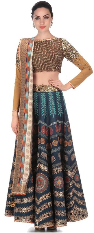KUSUM FASHION Printed Lehenga, Choli and Dupatta Set(Blue)