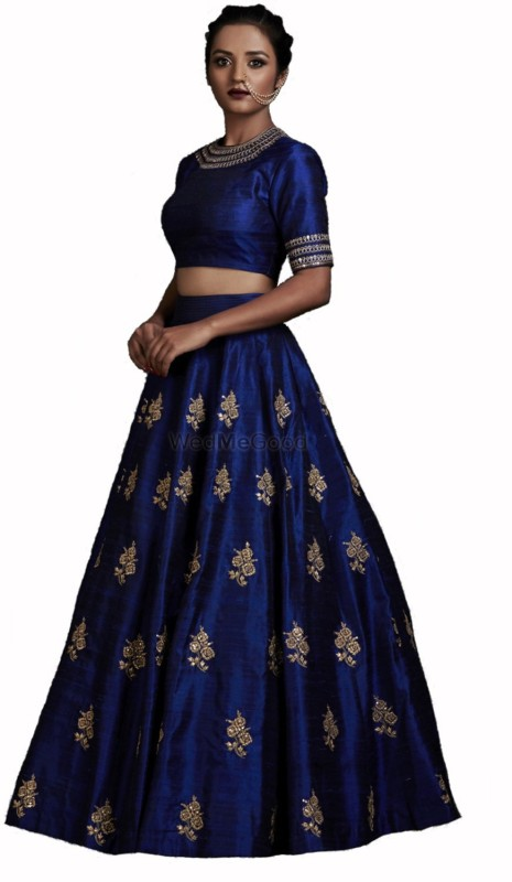 KUSUM FASHION Embroidered Lehenga & Crop Top(Blue)